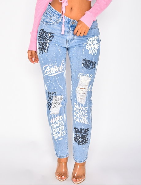 Ripped Boyfriend Jeans with Graffiti