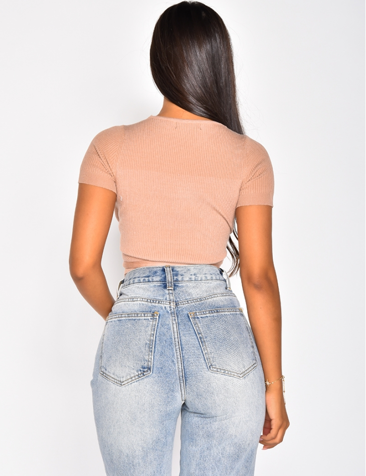 Ribbed Wrapover Tie Crop Top
