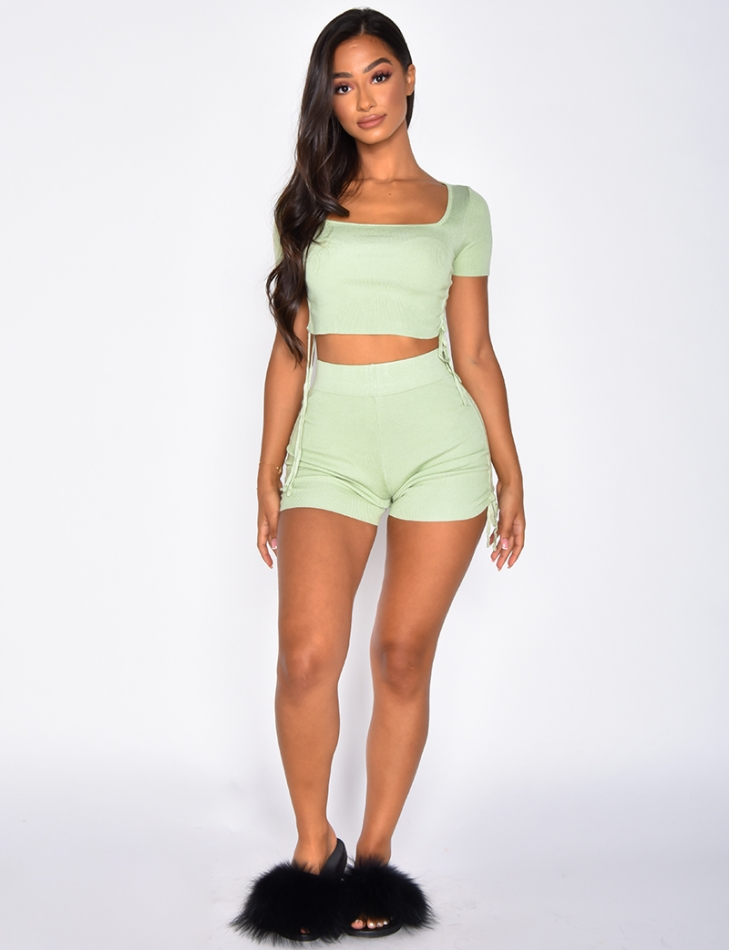 Ensemble côtelé crop-top et short