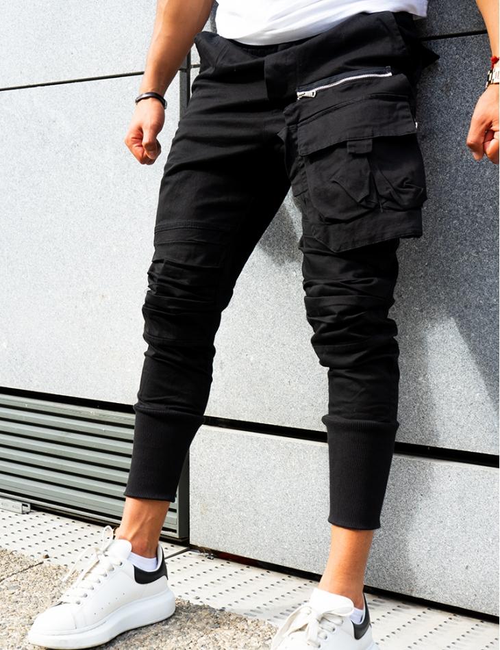 Pantalon cargo à zip et poches