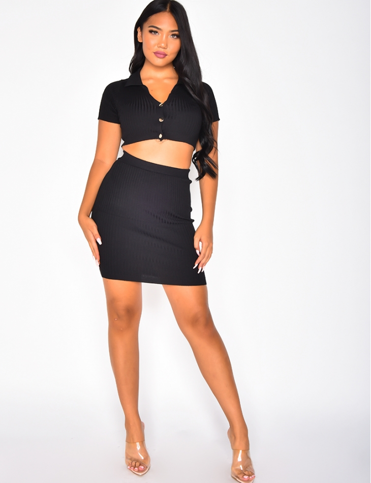 Ribbed Skirt and Crop Top with Buttons Co-ord