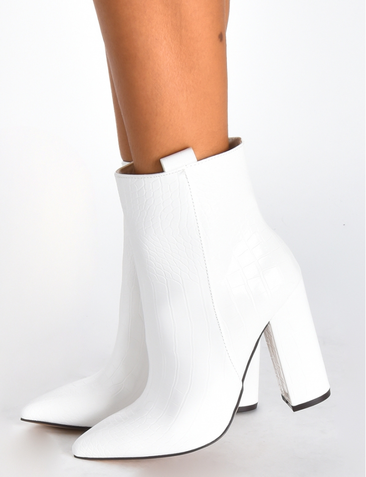 Snakeskin Style Ankle Boots