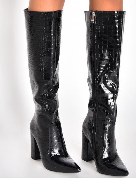 Heeled Snakeskin-Style Boots