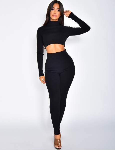 Ribbed High Neck Jumper and Leggings Co-ord
