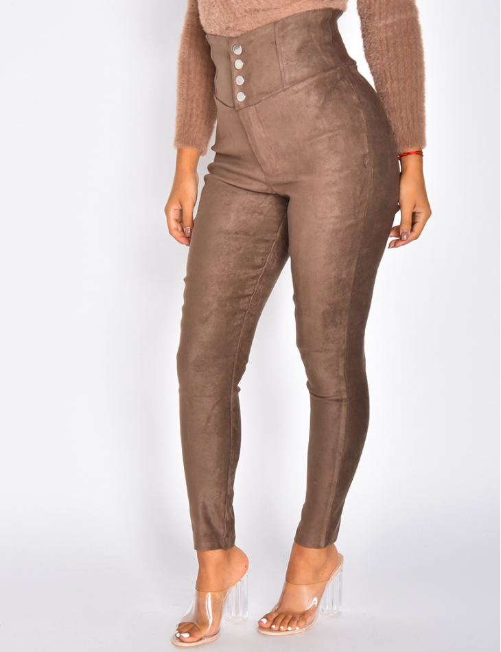 High Waisted Suedette Trousers