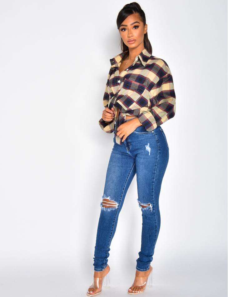 Jeans taille haute destroy
