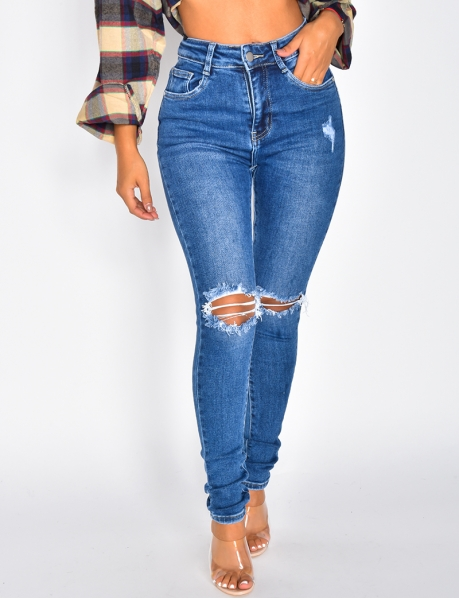Jeans High Waist in Destroyed-Optik