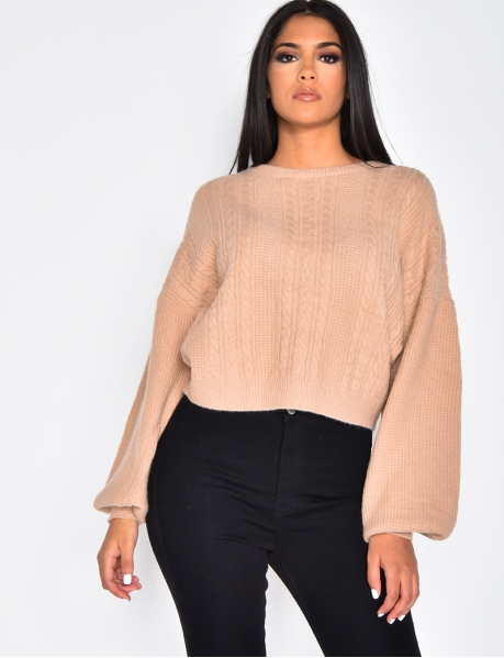 Pullover mit Zopfmuster Oversize