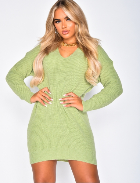 Super Soft V-neck Knit Jumper Dress