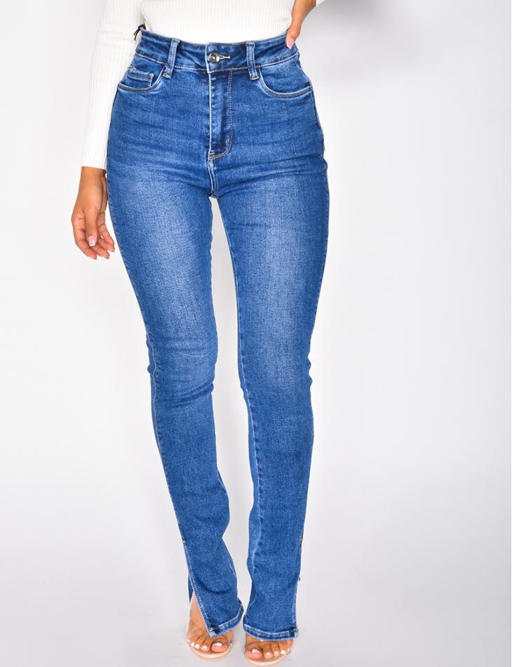 Jeans taille haute à fentes