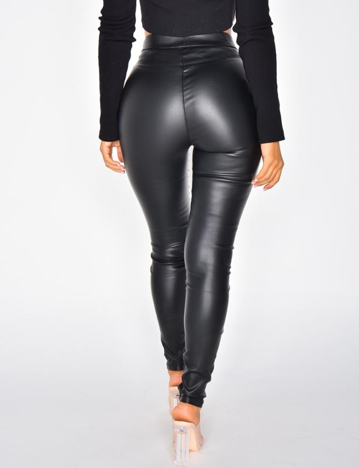 Legging en cuir à zip