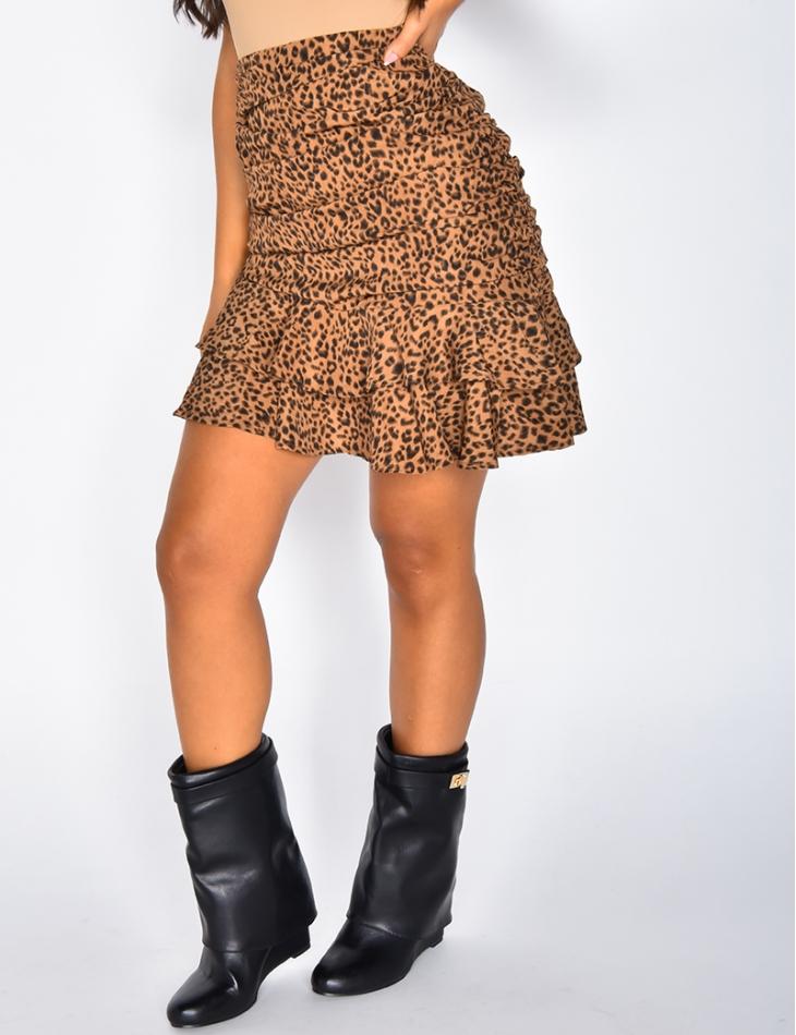 Jupe motifs léopard à volants