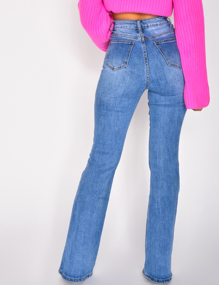 Jeans taille haute patte d'eph à papillons