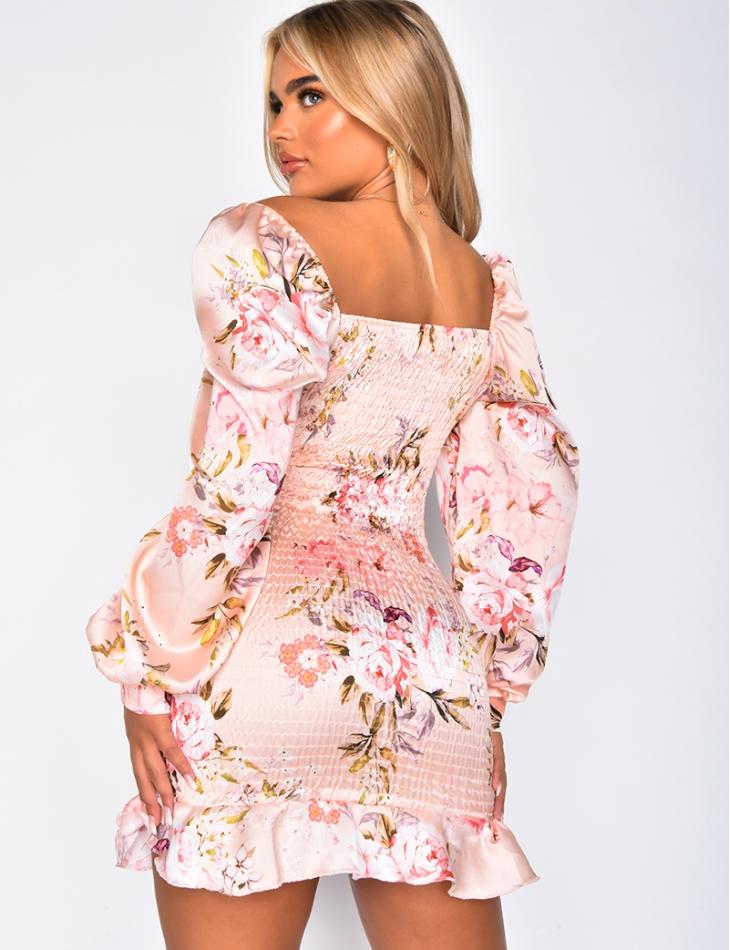 Robe fleuries froncée