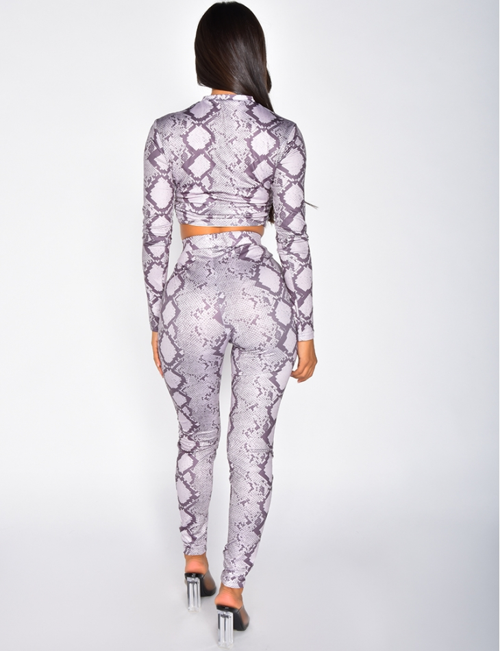 Ensemble pantalon et crop-top froncé à motifs serpent