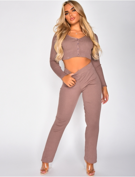 Ribbed Slit Flared Trousers and Cardigan Co-ord