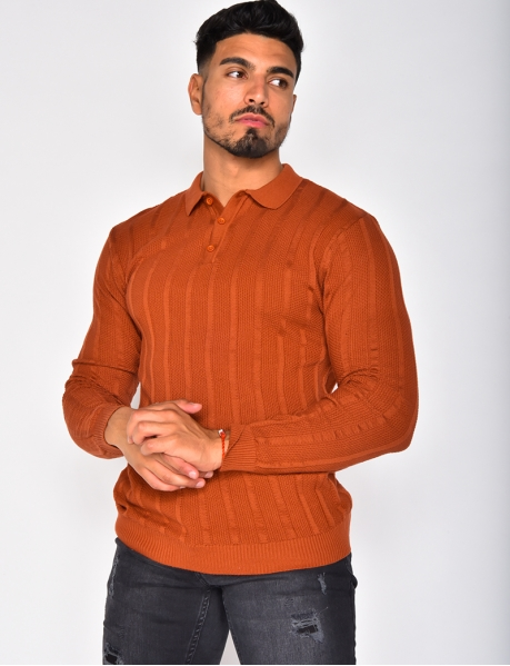Long Sleeved Textured Polo Shirt