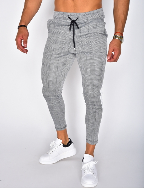Checked Trousers with Bands