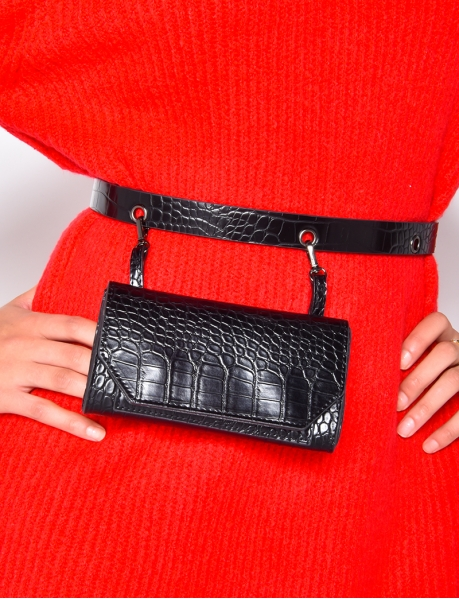 Crocodile Skin Bag Belt