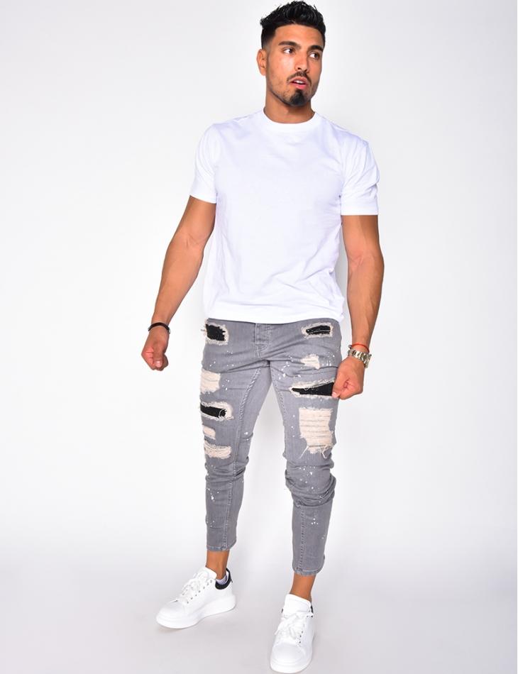 Jeans destroy à strass et tâches de peinture