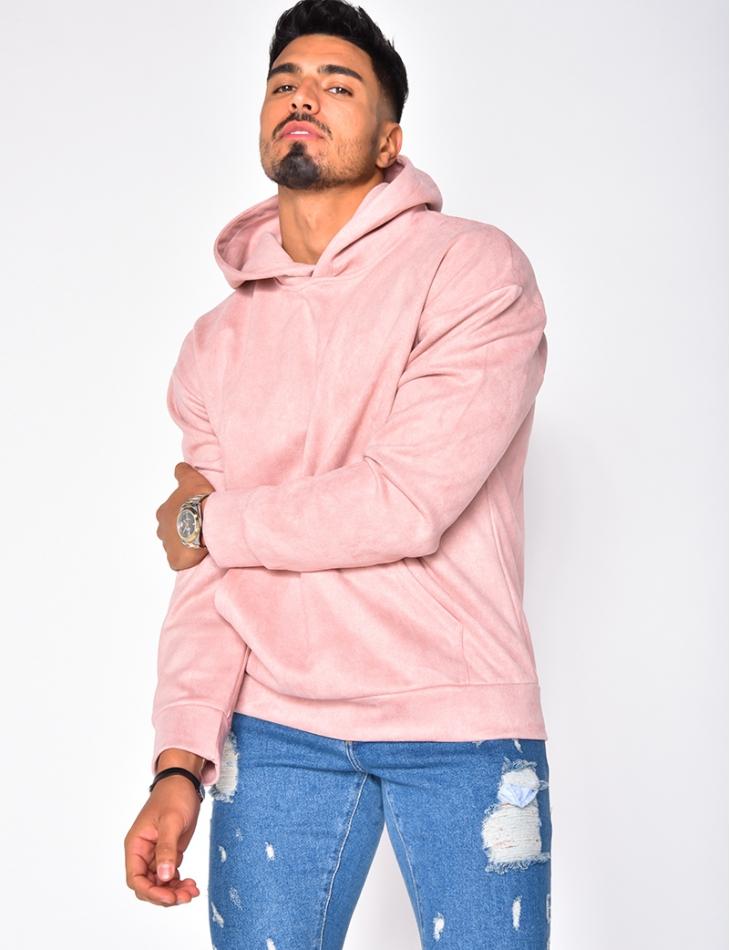 Suedette Sweatshirt with Hood