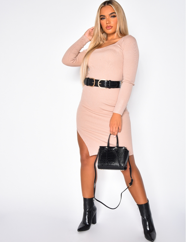 Long Sleeved Ribbed Dress