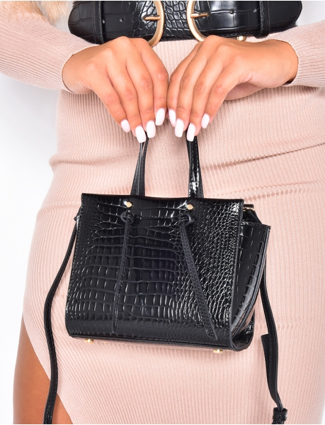 Kleine Handtasche in Krokodilleder-Optik