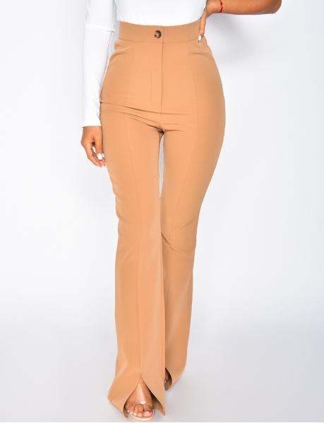 Pantalon taille haute à fentes
