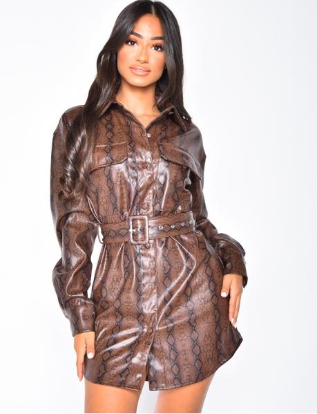 Robe chemise en simili à ceinture et motifs serpent