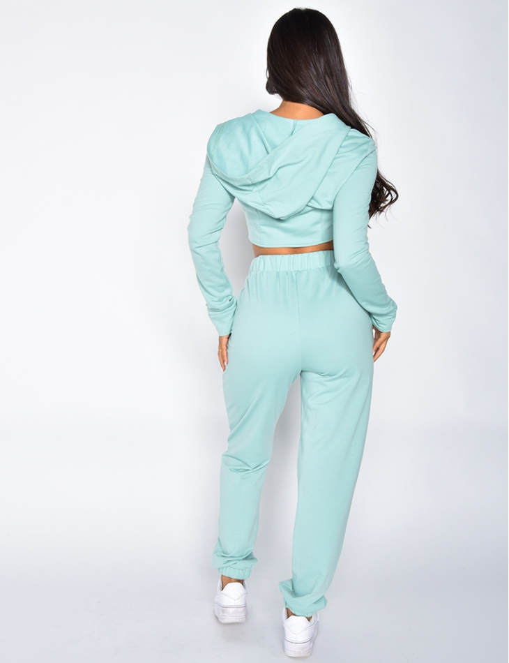 Jogging Bottoms and Jacket with Zip and Hood Co-ord