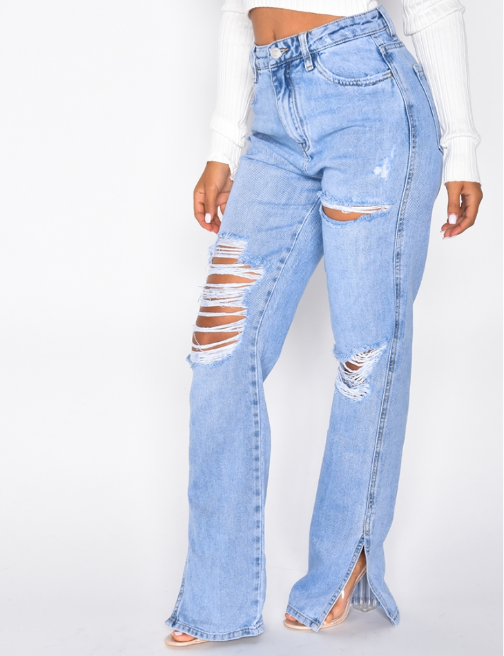 Straight Leg Ripped Jeans with Slits