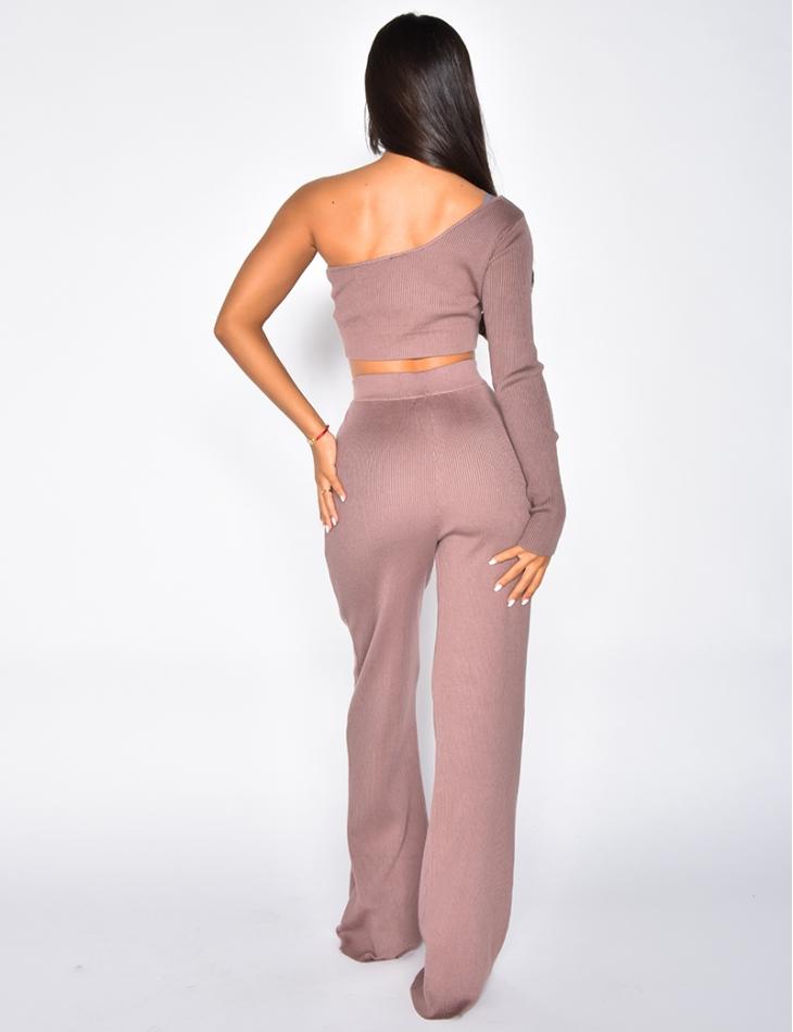 Ensemble crop-top et pantalon côtelé