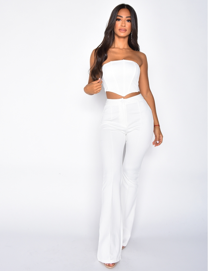Ensemble pantalon patte d'eph et crop-top bustier