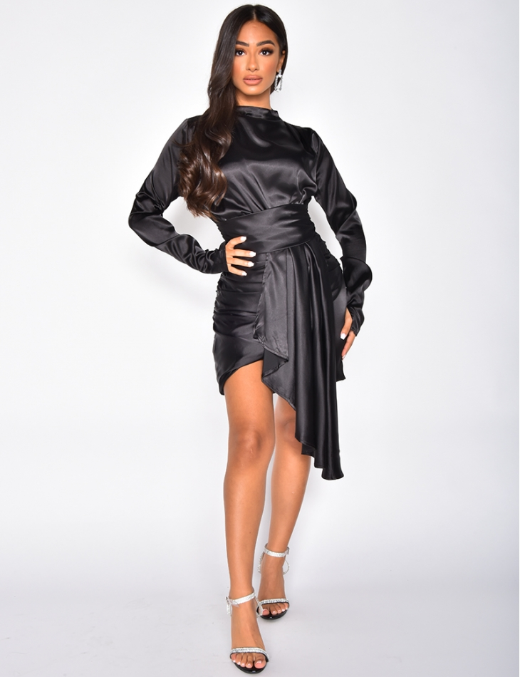 High Neck Satin Draped Dress
