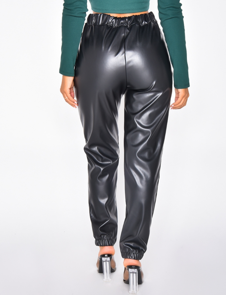 Faux Leather Cargo Trousers
