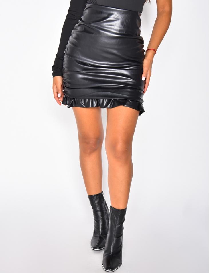 Faux Leather Drape Skirt