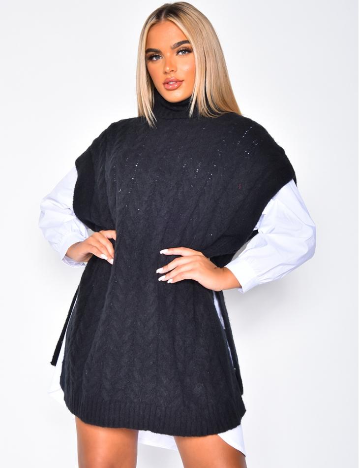Robe pull col roulé sans manches