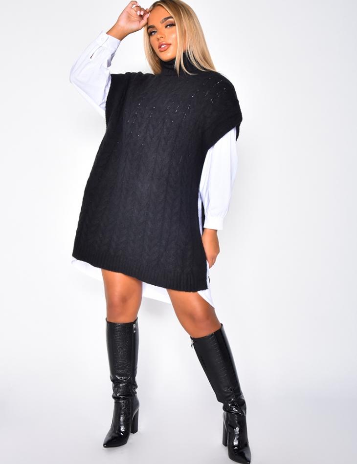 Sleeveless Polo Neck Jumper Dress