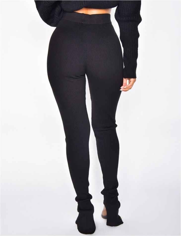 Ribbed Leggings with Slits