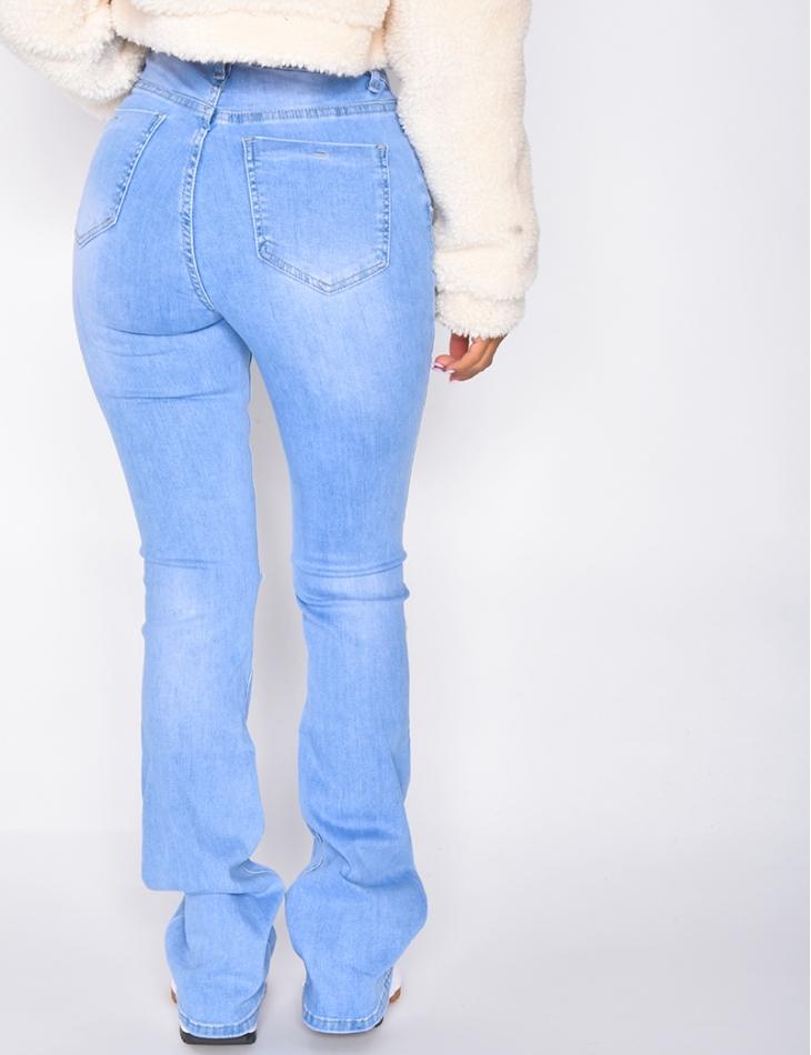 Jeans taille haute à patte d'eph