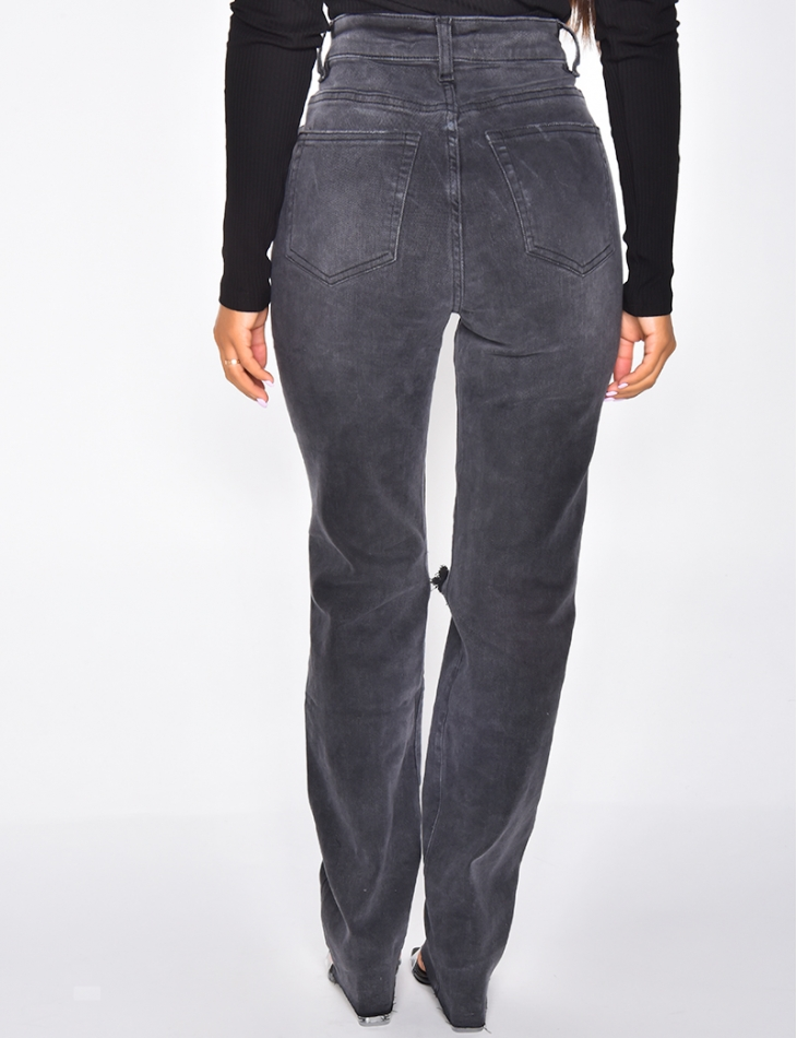 Jeans taille haute straight destroy