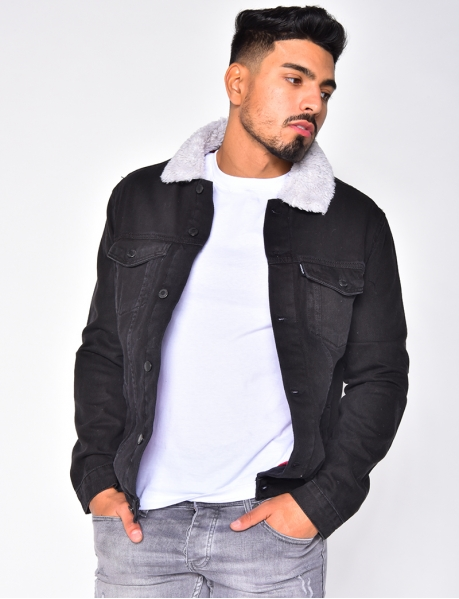 Veste en jeans à col effet mouton