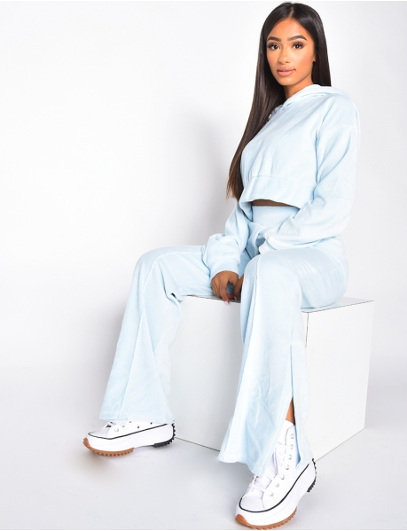 Super Soft Hooded Crop Top and Slit Trousers Co-ord