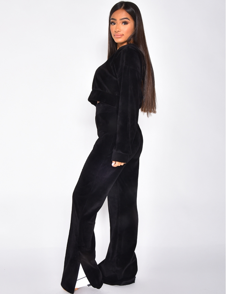 Ensemble tout doux pantalon à fentes et crop-top à capuche