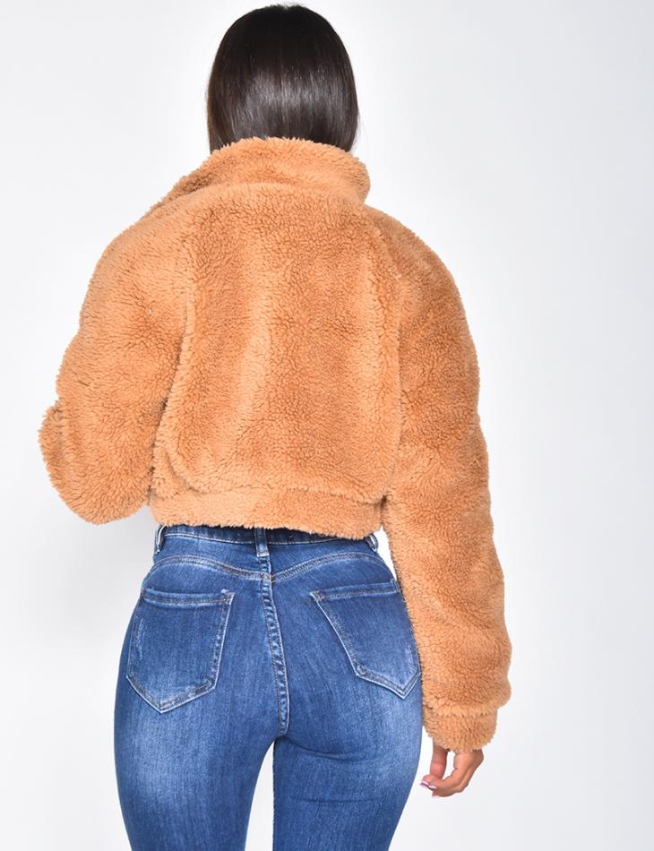 Veste courte effet peau de mouton