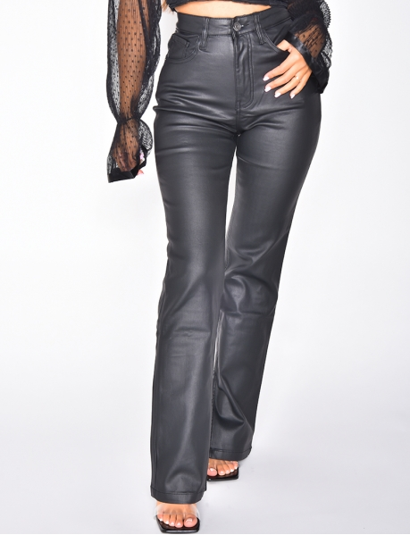 Faux Leather High Waisted Trousers with Slits