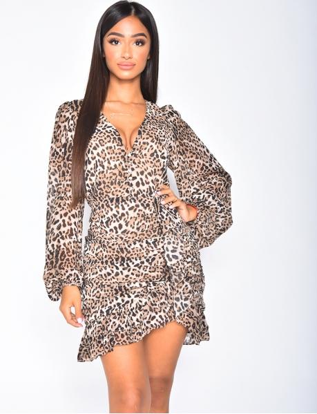 Robe à volants et motifs léopard