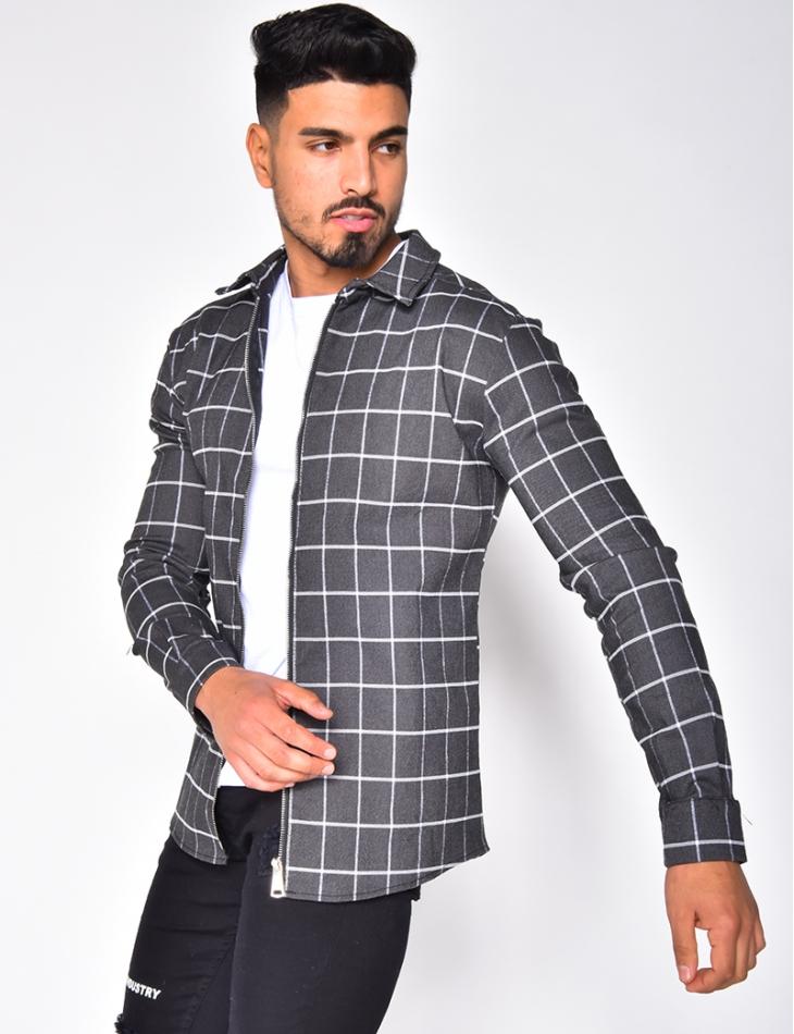 Chemise à carreaux et zip