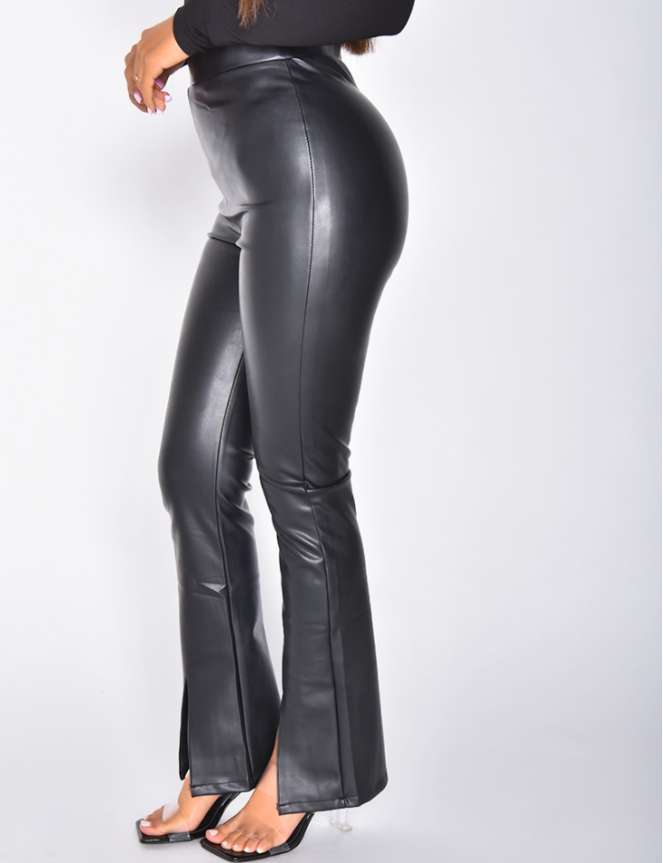 Pantalon taille haute en simili à fentes
