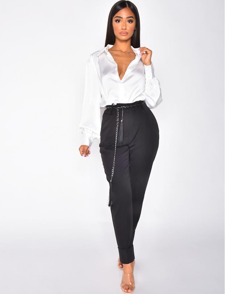 Pantalon tailleur à chaine